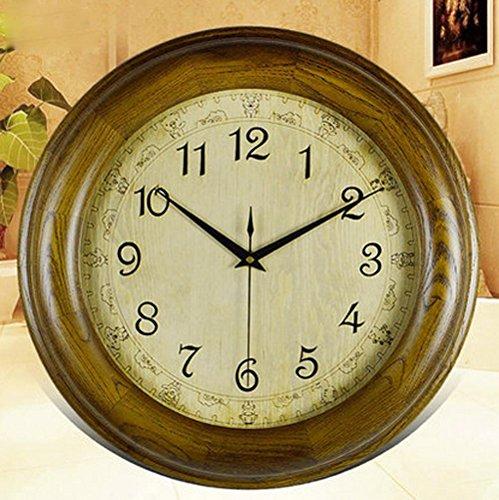 Kostüm Log (KHSKX Europäischen Antike Königin stumm Uhren moderne minimalistische Wohnzimmer Wanduhr Villa Mode Uhr 5804 log color 20)