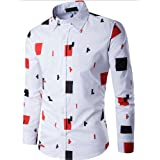 MORCHAN ❤ Homme Occasionnels Shirt à Manches Longues d'affaires Slim Fit Shirt imprimé Chemisier Top