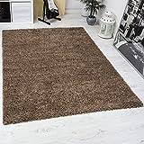 VIMODA Prime Shaggy Teppich Hochflor Langflor Teppiche Modern für Wohnzimmer Schlafzimmer Einfarbig Nougat Hellbraun 120x170 cm