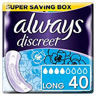 Always Discreet Incontinence, long Pads (Pads+) for Women with sensitive bladder, 4 drops absorbency - Super saving Box - 4 packs of 10 count (Total 40 count)