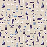 Fabulous Fabrics Halbpanama Nautik Meer - Natur - Meterware