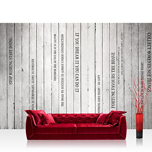 Vlies Fototapete 400x280 cm PREMIUM PLUS Wand Foto Tapete Wand Bild Vliestapete - WORDS ON WOODEN WALL no.2 - Holzoptik Holzwand Panel mit Text weißes Holz Brett - no. 125