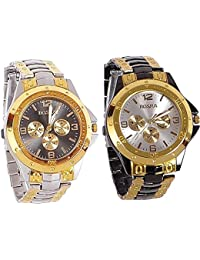 Xforia Boys Watch Stylish Golden & Black Metal Analog Watches For Mens Pack Of 2 Low Price