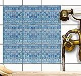 Aufkleber für Fliesen | Fliesensticker Vinyl Mosaikfliesen | Selbstklebende Dekorfolie zur Wandgestaltung von Bad u. Küchenfliesen - Fliesenmuster | 15x15 cm - Motiv Mosaik Blau - 9 Stück