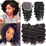 MORICHY Hair Brazilian Deep Wave with Closure 100% Unprocessed Virgin Human Hair 3 Bundles with Free Part Closure Short Deep Curly 50g/pc Full Head Natural Color (8 8 8+8 free part closure)