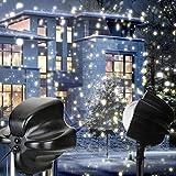 ✽ZEZKT-Home✽1 Set LED Snowfall Light Rotating Night Light Projector Snow Flurries Spotlight Schneeflocke ProjektorLicht Wasserdicht Weihnachten Schneefall Projektor Leuchten Außen und Innen Deko