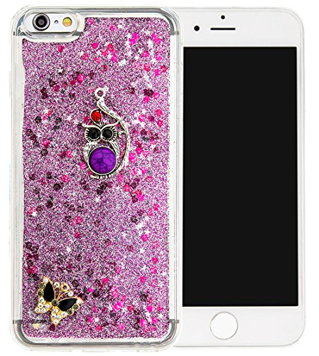 Nnopbeclik Silikon Hülle Transparent Für Apple Iphone 6 Plus / 6S Plus, Durchsichtig Ultra Slim TPU 3D Fließende Flüssigkeit Shiny Weich Schutzhülle Tasche Bunt Muster mit Diamant Applikationen [DIY M #1