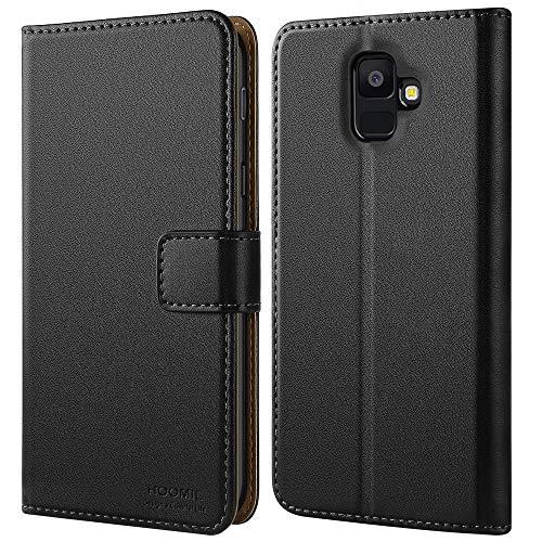 HOOMIL Handyhülle für Samsung Galaxy A6 2018 Hülle, Premium Leder Flip Schutzhülle für Samsung Galaxy A6 (2018) Tasche, Schwarz