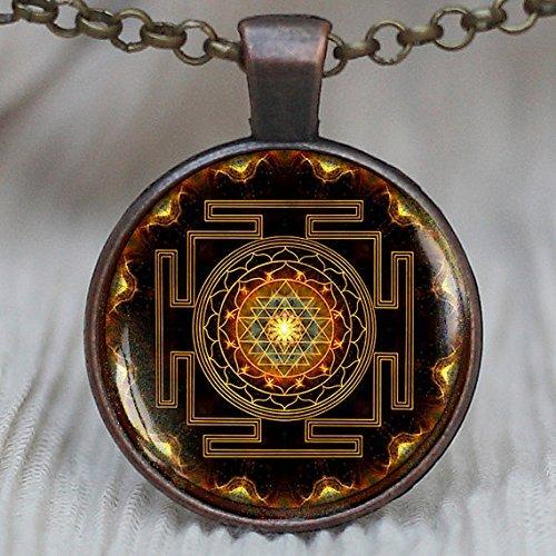 Sri Yantra Anhänger, heilige geometrie Schmuck, Sri Yantra Schmuck, Schmuck für Herren, Halskette für Männer, Sri Yantra Halskette (Yantra-halskette)