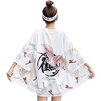 LAI MENG - Kimono da donna, con maniche a 3/4, ricamato, motivo drago reale, taglia unica