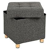 SONGMICS Sitzhocker Fußhocker Sitztruhe mit Stauraum und Deckel mit Holzfüßen, 38 x 40 x 38 cm dunkelgrau LSF14GYZ