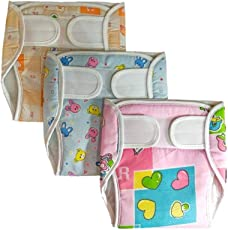 Baby Shopiieee Reusable Padded Strap Diaper Pant / Reusable Pocket Diaper/ Baby Cloth Diaper / Outside Printed Cotton Inside Plastic Diaper Pant (Muslin)- Set of 3 (6-9 Months ) Print & Color May Vary - L (3 Pieces)