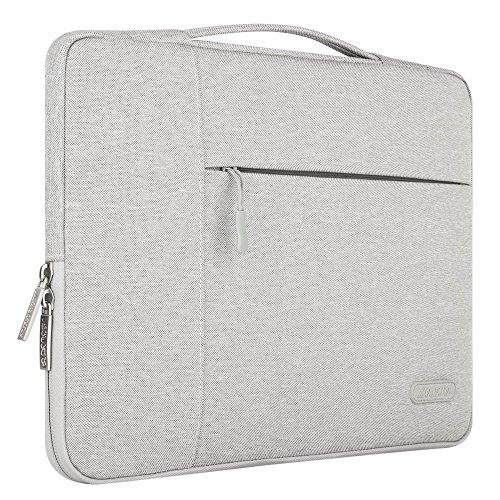 MOSISO Tasche Sleeve Hülle Kompatibel 15-15,6 Zoll MacBook Pro, Notebook Computer Multifunktionshülsen Spritzwasserfest Laptoptasche Handtaschen mit zusätzlichem Stauraum Polyester Schutzhülle, Grau