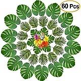 KUUQA - 60 piezas de flores artificiales de palmera tropical y hibisco para decoración de fiesta de...
