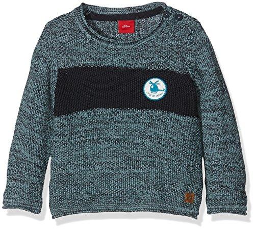 s.Oliver Baby-Jungen Pullover mit Blockstreifen, Blau (Dark Blue Melange 58x8), 74