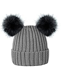 1bed54101b4 RockJock Kids Girls Colourful Warm Winter Knitted Beanie Hat with Twin Faux  Fur Pom Pom