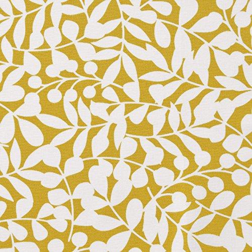 MIRABLAU DESIGN Stoffverkauf Bio Baumwolle Canvas GOTS weiße Ranken auf gelb (16-051M), 0,5m -