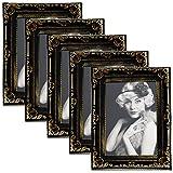 EUGAD 5er Set Bilderrahmen BR9750-5 Kunststoffrahmen, Glasscheibe, Antik Barock, Zum Aufstellen, Zum Aufhänger, (Schwarz/Gold, 13x18)