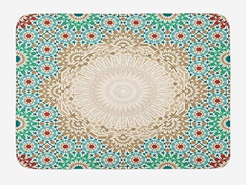Marokkanischer Badematte, Mosaik-Design, mit Blumenmotiv, in Antik-Optik, aus Keramik, mit Klammer, mit Rutschfester Unterseite, 59,9x 39,9cm