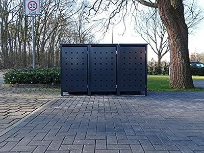3 Mülltonnenboxen Modell No.2 für 240 Liter Mülltonnen / komplett Anthrazit RAL 7016 / witterungsbeständig durch Pulverbeschichtung / mit Klappdeckel und Fronttür von Srm-Design - Du und dein Garten
