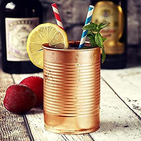 Étain peut Cocktail Tasse cuivre 10oz/280ml–Set de 4mugs–Cocktail fantaisie en forme de pouf peut