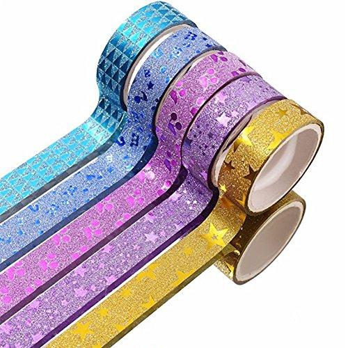 CAOLATOR 10 x Masking Klebeband Spitze Klebeband Papier Glitter Washi Masking Tape Dekoband Aufkleber Papier Dekorative zum DIY,Zufällige Farben - Glitter Spitzen