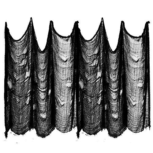 ziyue 22,6 m x 203,2 cm inkl. Aufhängung für drinnen und draußen, gruselig, Halloween, Büro, Party, Tür, Fenster, Riesen-Spinnen, Hof, Tisch, Auto, Rasen, Tischdekoration, Cheescloth Stoff schwarz