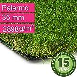Kunstrasen Rasenteppich Palermo für Garten - Florhöhe 35 mm - Gewicht ca. 2889 g/m² - UV-Garantie 12 Jahre (DIN 53387) - 4,00 m x 6,00 m | Rollrasen | Kunststoffrasen