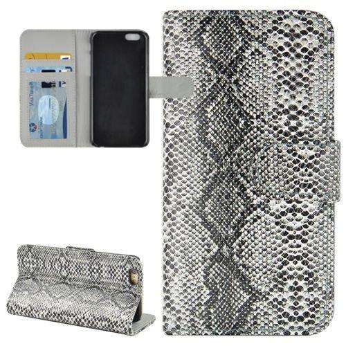 jbTec® Flip Case Handy-Hülle zu Apple iPhone 6 / 6s - BOOK SNAKE - Handy-Tasche, Schutz-Hülle, Cover, Handyhülle, Ständer, Bookstyle, Booklet, Farbe:Grau Grau