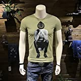 Burenqi@ Uomini Short-Sleeved T-shirt con colletto circolare Sau Hit Fondo Shirt,XXL, verde