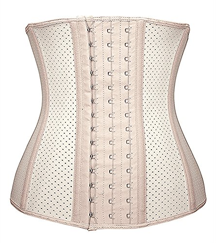 Camellias Damen Korsett Latex Training Sport Corsage Breathable Corset Waist Shaper,UK-SZ11533-Skin-S