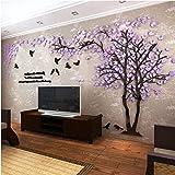 DIY 3D Riesiger Baum Paar Wandtattoos Wandaufkleber Kristall Acryl Malen Wanddeko Wandkunst (XL, Lila, Links)