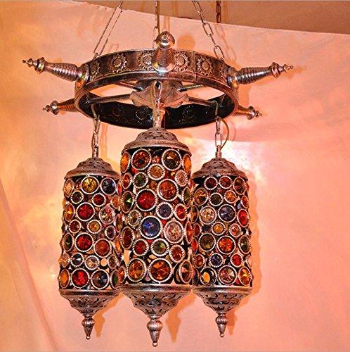 Suspensions American Retro Asie du Sud-Est Bohemia Méditerranéenne, Living Lamp Lamp Bedroom Dining Bronze Color Chandelier, 40w