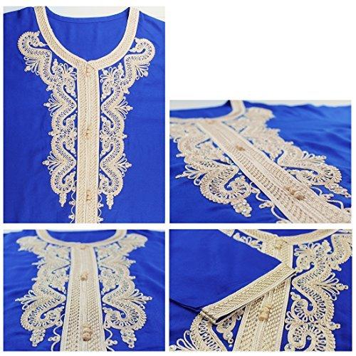 vetement femme musulmane / muslima abaya robe islamique Caftan brodé jalabiya rayonne dubai maxi dress longue 1629 Bleu
