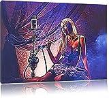 attraktive Frau mit Shisha auf Leinwand, XXL riesige Bilder fertig gerahmt mit Keilrahmen, Kunstdruck auf Wandbild mit Rahmen, günstiger als Gemälde oder Ölbild, kein Poster oder Plakat, Format:120x80 cm
