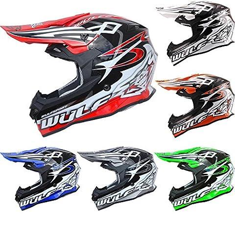 Motorbike Motorcycle Motocross Helmets WULFSPORT SPECTRE ATV Off Road Quard Helmets All Colours (Black,