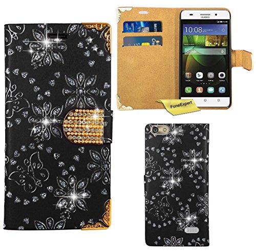 Preisvergleich Produktbild Huawei G Play Mini / Honor 4C Handy Tasche, FoneExpert® Bling Luxus Diamant Hülle Wallet Case Cover Hüllen Etui Ledertasche Premium Lederhülle Schutzhülle für Huawei G Play Mini / Honor 4C (Schwarz)