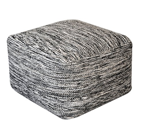 Rugs2Clear Hand Made Black/ Grey Wool Muse Pouf(55cm x 55cm x 35cm),1 Piece