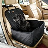 2 in 1 Deluxe Dog Booster Seat Waterproof Cat Front Seat Cover for Cars Pet Bucket Seat Cover Non- Slip Backing(Black)