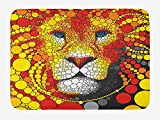 Doormats Fractal Bath Mat, Abstract Style Lion Portrait with Doodle Style Circle Figure Wildlife Leader Image, Plush Bathroom Decor Mat with Non Slip Backing, 23.6 W X 15.7 W Inches, Red Yellow