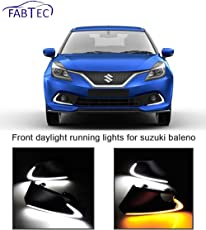Fabtec LED Daytime Running Fog Light DRL for Suzuki Baleno LED Front Bumper Light with Yellow Turn Signal Light Model Year 2016-2017-2018