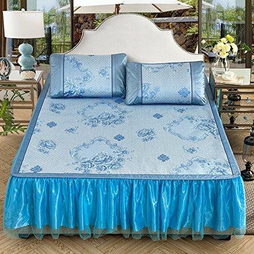 LLZBSX Eismatte/Coole Matratze/Eis Seide/Matte/Bett Rock/Dreiteiligen Anzug(1Pad+2Kissenbezug)/Abnehmbar/Falten/1,8M/Bettdecke/Doppel/Sommer/Eis Matte,C Lila,1,5M(5 Fuß)Bett (Blue Rock Anzug)