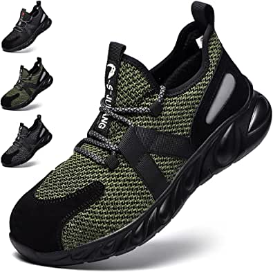 Fadezar Safety Shoes Women Men Steel Toe Work Trainer Shoes Lightweight Breathable Industrial Non Slip Shoes Sneakers