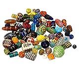 250g Indische Glasperlen Bastelperlen Mix ** A GRADE ** Silberfolie Set Perlen Lampwork Mischung Bunt Größenmix Bastelset Konvolut Charms Beads -1