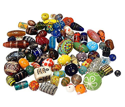 n Posten Glas Perlen Beads Silberfolie Lampwork Rund Oval Bunt Perlenset Bastelset Für Schmuck zur Schmuckherstellung von Halsketten Armband DIY (2000) ()