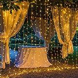 OxyLED Fairy  Vorhang Lichterketten,Lichterkette Vorhang LED Lichtervorhang 306 LED 3x3 Meter Lichterkette,8 Modi  für Innen Außen Garten Party Hochzeit,Zimmer, Weihnachten,Warmweiß