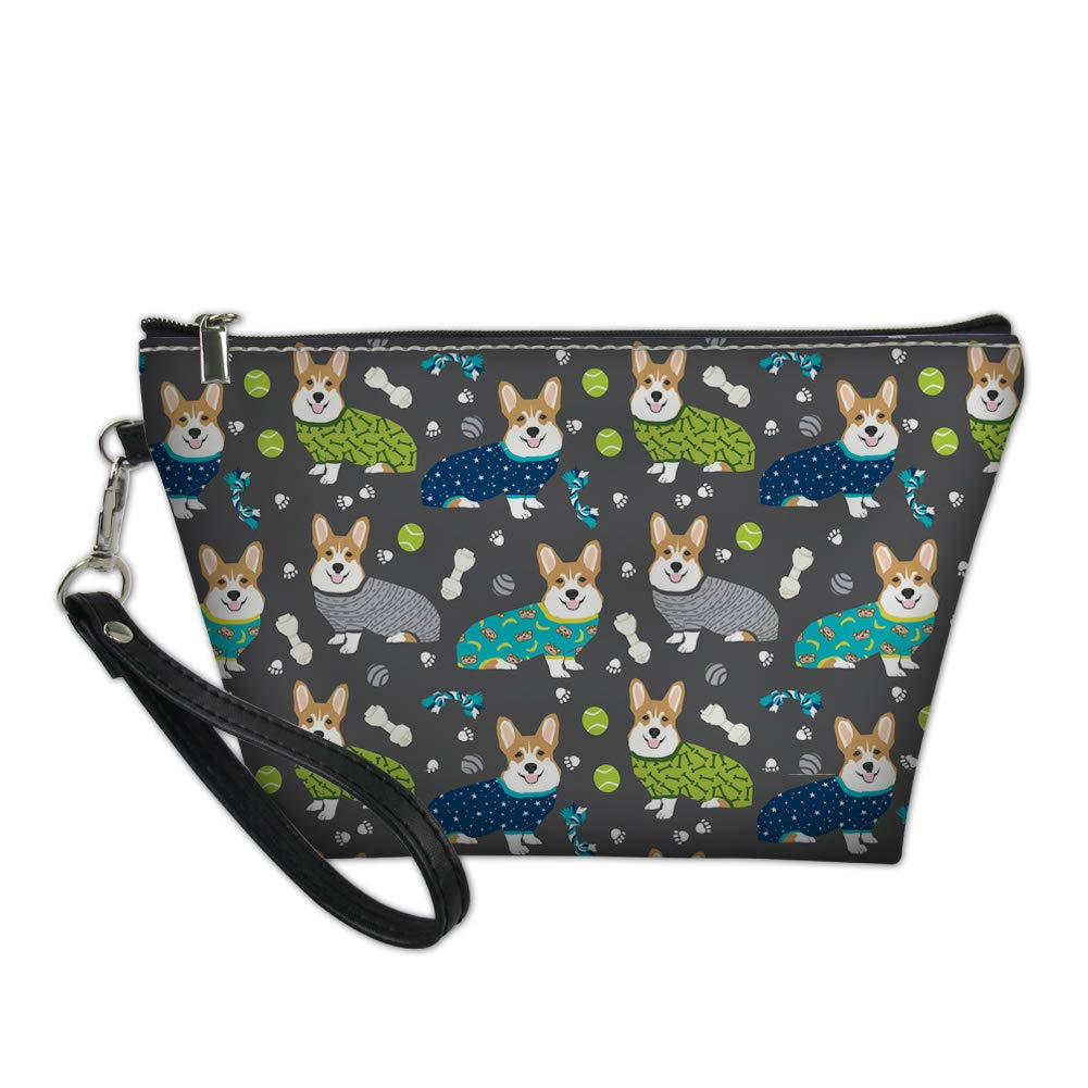 Nopersonality Waterproof Small Beauty Pouch Make-up Bag Cosmetic Case Open up Zipped Top with Schnauzer Floral
