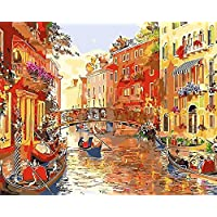 Artshdow Diy Water City Venice Pictures Drawing, Home Wall Art Picture Coloring Painting By Numbers, Calligraphy Painting 40X50Cm A007