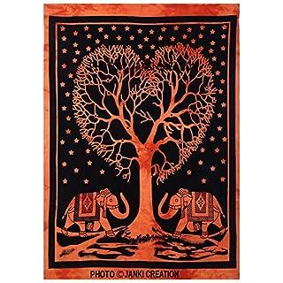 Janki Creation indischen Mandala Wandteppich für Überwurf bedsprea, dekorativer Wandschmuck, Baum des Leben, Herz ab, Baum, Mandala Wand aufhängen, Boho Wand Kunst, Elefant Poster (42x 30) Zoll Poster,