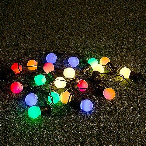 20 Multi Coloured LED Premium Festoon Outdoor Garden Globe String Lights - IP44 Rated